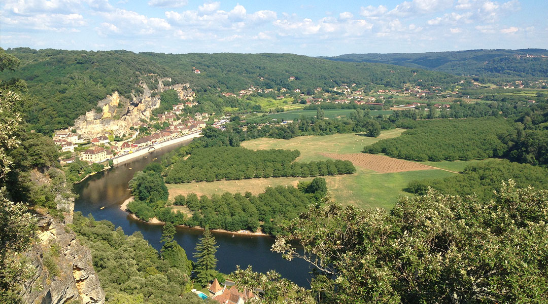 View of La Roque-Gageac and the Dordogne river, taken from one of the gardens many viewpoints.
